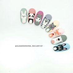 Dog Nail Art, Animal Nail Art, Dog Nails, Cute Nails, Pretty Nails, Cute Nail Art, Tammy Nails, Nail Art Dessin, Animal Nail Designs
