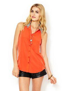 Contrast Collar Sleeveless Shirt by Marabelle at Gilt