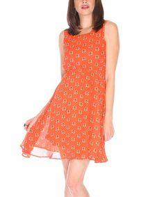 Love this Orange & Yellow Tiger Geometric Sleeveless Dress by Fuchhi Style on #zulily! #zulilyfinds