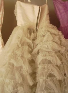 Shabby chic style vintage ruffled prom dress in soft ivory...so lovely.