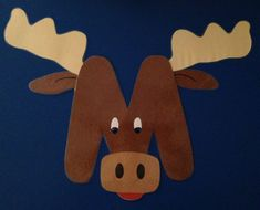 M is for moose. Hand made by my co-teacher and myself. After we finish with our mustaches, we can put them on out moose :)