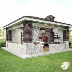 Backyard Pavilion, Outdoor Pavilion, Backyard Buildings, Backyard Patio Designs, Outdoor Pergola, Backyard Landscaping, Outdoor Bbq Kitchen, Outdoor Kitchen Design, Backyard Fireplace