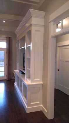 showing extra molding piece on cabinet.showing extra molding piece on cabinet.Home Wall Ideas Living Room Built Ins, Living Room Tv, Home And Living, Bedroom Built Ins, Basement Built Ins, Office Built Ins, Basement Ideas, Dining Room, Built In Entertainment Center