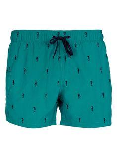 Turquoise Seahorse Swim Shorts by Topman Hang Ten, Swimming Outfit, Mens Swim Shorts, Mens Boardshorts, Fishing Shirts, Short Outfits, Swim Trunks, Mens Fashion, Boy Fashion