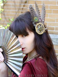 Steampunk Hair Clip Fascinator for LARP Cosplay Goth Tribal Bellydance or Dress Up-Cruelty Free Feathers