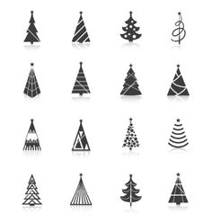 Christmas tree icons black vector by macrovector on VectorStock®
