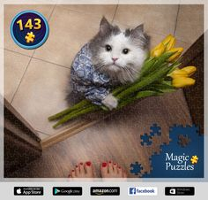 I've just solved this puzzle in the Magic Jigsaw Puzzles app for iPad. Image Storage, Puzzle Board, Jigsaw Puzzles, Ipad, Magic, My Style, Cats, Animals, Pictures