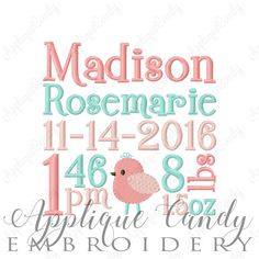 Custom Digitized Bird Subway Art Birth Announcement Personalized Embroidery Design 4x4 5x5 6x6 7x7 8x8 9x9 10x10 (NOT Instant Download) by AppCandyEmbroidery on Etsy