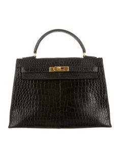 Hermes Exotic Kelly 32cm Porosus Bag - Satchel in Black
