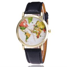 Cheap clock fashion, Buy Quality clock women directly from China clock dress Suppliers: Relogio Feminino Fashion Map Pattern Leather Band Analog Quartz Vogue Wrist Watches Gift Hours relojes mujer Woman dress clock Vogue, Watches For Men, Wrist Watches, Women's Watches, Female Watches, Ladies Watches, Map Watch, Fashion 2017, Fashion Women