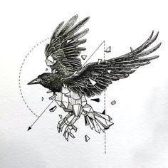 Great Geometric Raven Tattoo Design - Incredible fine line raven design. Geometric Tattoo Color, Geometric Bird, Geometric Drawing, Geometric Tattoos, Fine Line Tattoos, Body Art Tattoos, Girl Tattoos, Sleeve Tattoos, Fox Tattoos