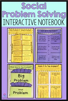 These social problem solving interactive notebook pages will help your students learn to determine t Coping Skills Activities, Problem Solving Activities, Social Activities, Problem Solving Skills, Speech Therapy Activities, Emotions Activities, Student Problems, Guidance Lessons, Art Lessons