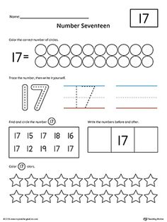 Number 17 Practice Worksheet Worksheet.Help your child practice counting, identifying, tracing, and writing number 1 with this printable worksheet.