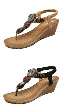 b3d586b195be4 Bohemian Bead Clip Toe Elastic Wedge Heel Beach Flip Flops Sandals is  comfortable to wear. Shop on NewChic to see other cheap women sandals on  sale.