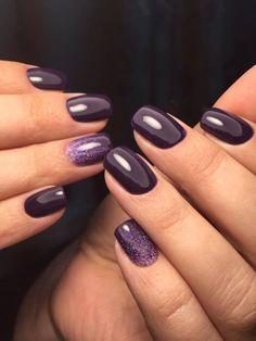 pretty nails for winter * pretty nails ; pretty nails for summer ; pretty nails for spring ; pretty nails for winter ; Plum Nails, Fancy Nails, Cute Nails, My Nails, Purple Nail Polish, Dark Purple Nails, Dark Nails With Glitter, Dark Gel Nails, Dark Color Nails
