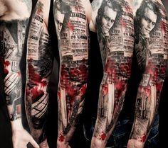 Image result for trash polka tattoo sleeve