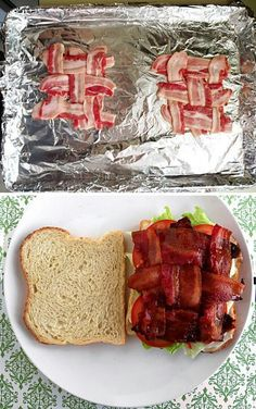 duh -- problem solved for how to keep bacon from falling out of your BLT :)