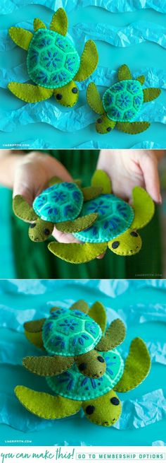 DIY Felt Turtle Stuffie is part of Felt crafts DIY - This felt turtle family is a great DIY project for practicing embroidery stitching, and once you finish you can gift them to your kids as summer goodies! Felt Christmas Ornaments, Christmas Crafts, Christmas Pics, Christmas Patterns, Diy Ornaments, Christmas Fabric, Crochet Christmas, Homemade Christmas, Fabric Crafts