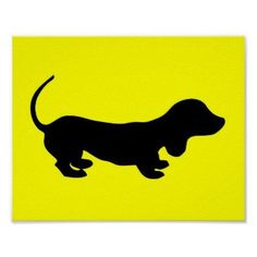 Fun Simple #dachshund Design Yellow Poster - animal gift ideas animals and pets diy customize