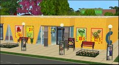 Grocery Store Ads to conversions - Amovitam's Dream Town Sims 2 Hair, Store Ads, Buy Business, Grocery Store, Community, Outdoor Decor