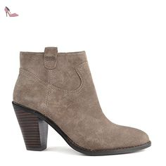 Ash Chaussures Ivana Boots a Talon en Daim Femme 38 EU Stone - Chaussures ash (*Partner-Link)