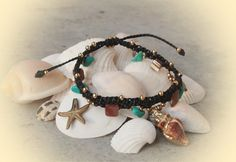 Sea Charms Bracelet / Charms Armband / Macrame Armlet by Malatichan on Etsy