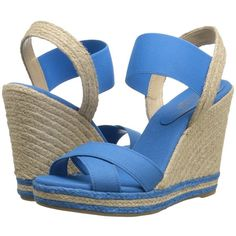 LAUREN Ralph Lauren Elena (Blue Solid Canvas/Elastic) Women's Wedge... (110 AUD) ❤ liked on Polyvore featuring shoes, sandals, platform sandals, slingback wedge sandals, slip on wedge sandals, ankle strap wedge sandals and open toe wedge sandals