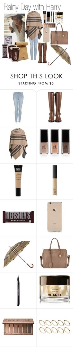 """""""• Rainy Day with Harry"""" by dianasf ❤ liked on Polyvore featuring Topshop, Cole Haan, Burberry, Jil Sander, e.l.f., MAKE UP FOR EVER, NARS Cosmetics, Hershey's, Alexander McQueen and Shiseido"""