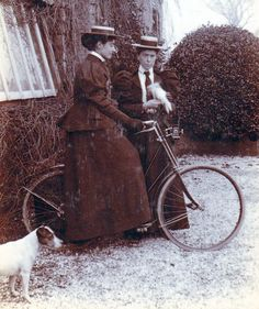 1900 Bicycle outfits, complete with bird and dog