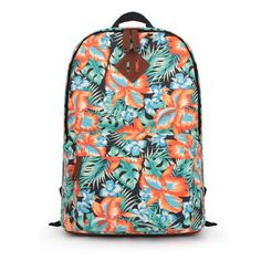 ZLYC Women Teens Girls Fashion Floral Print Canvas Backpack Campus School Bag (Orange). Size: 17 X 13 X 6 inches / 43 X 32 X 16 cm. Fits for students in high school/college/university or for travel. All-over tropical floral design. Please understand the pattern may varies in each bag, NOT exactly the same as the picture. Zipped pocket to front, zip clousre, and adjustable padded shoulder straps. PLEASE NOTE: This product is exclusively sold by ZLYC. We've NOT authorized it to any other...
