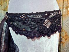 Black Tribal Fusion Gothic Bellydance Belt / by SavvyGirlDesigns, $49.00