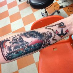 tattoo old school / traditional nautic ink - caravel ship on bottle (by Ron Henry Wells)
