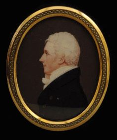 English School - Profile Portrait of William Manning, MP. Watercolour on Ivory in a Gilt-Metal Mounted Rectangular Ebonised Frame. Oval 7cm x 5.5cm.