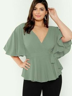 To find out about the Plus Flutter Sleeve Surplice Neck Belted Top at SHEIN, part of our latest Plus Size Blouses ready to shop online today! Cute Blouses, Plus Size Blouses, Plus Size Tops, Women's Plus Size Shorts, Plus Size Outfits, Curvy Fashion, Plus Size Fashion, Western Tops, Looks Plus Size