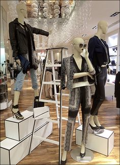 See these BCBG Sterile Props With Purpose platforms are hollow, and if stood on end could become pedestals in a visual merchandising rebirth. Boutique Interior, Boutique Decor, Boutique Ideas, Clothing Store Displays, Store Window Displays, Visual Merchandising Displays, Visual Display, Mannequin Display, Fashion Showroom
