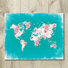 world map coral pink and turquoise nursery by SunnyRainFactory
