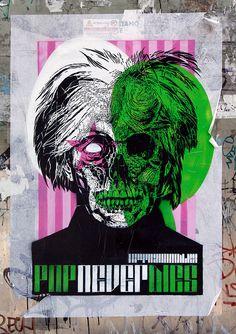 'Andy Warhol', street art by Orticanoodles. Street Art Love, But Is It Art, Sugar Skull Design, Sidewalk Chalk, Italian Artist, Vintage Comics, Skull And Bones, Andy Warhol, Graphic Art