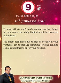 #Numerology predictions for 11th January'16 by Dr.Sanjay Sethi-Gold Medalist and World's No.1 #AstroNumerologist.