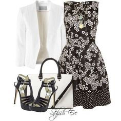 Floral black dress and white blazer Sunday Church Outfits, Church Attire, Church Dresses, Fashion D, Modest Fashion, Fashion Outfits, Couture Fashion, Fashion Styles, Fashion Clothes