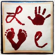 Foot and Hand Print LOVE Painting: Great Gift Idea for Kids to Make. While I think this is adorable, the red paint makes it look like a crime scene.