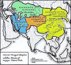 Four Mongol khanates Sadamasa Cengiz'den sonra Mogol İmparatorluğunun ayrildıği 4 hanlık  Karakorum is the original Mongol capital. Shangdu is Xanadu. Dadu or Khanbaliq is Beijing. The Khanate of Persia is the Ilkhanate.