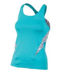 Scuba Blue & White Hex Infinity Sport Tank - Women #zulily #zulilyfinds