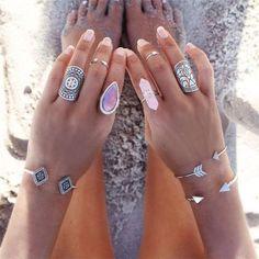 Crystal Ring Rose Quartz Light Pink Boho Long Stone Stackable Adjustable Ring…