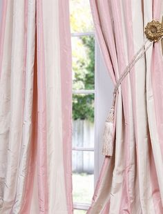 pink stripe taffeta.....got these for my girls room....LOVE them ...