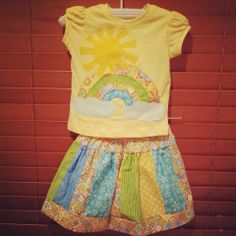 Gorgeous twirly skirt set with matching Applique tee - Little Goose