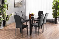 Giovani Black/White High Gloss Glass Dining Table Set and 4 Chairs ...