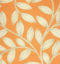 Havendale Fabric A printed linen cotton fabric with outline leaf design with an orange background
