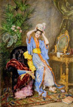 """""""La Japonaise a Paris"""", 1886, by Madeleine Jeanne Lemaire (French, 1845-1928)."""