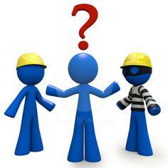 Question Mark: Good Contractor, Bad Contractor. Blue Man 3d Render Stock Image