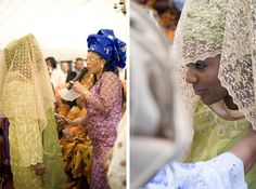 African bride - gold and green traditional
